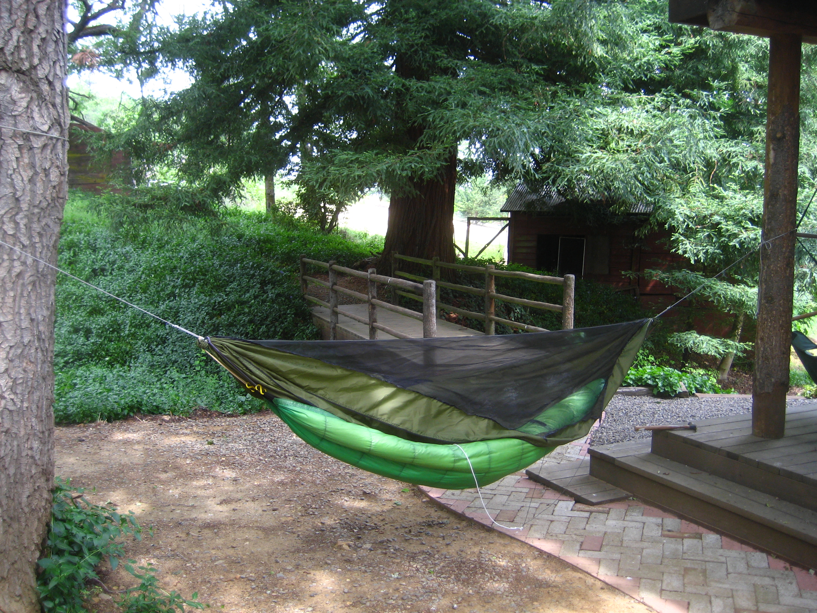 Hereu0027s My New Hammock Hung In My Backyard With The Jacks R Better No  Sniveller Underquilt.